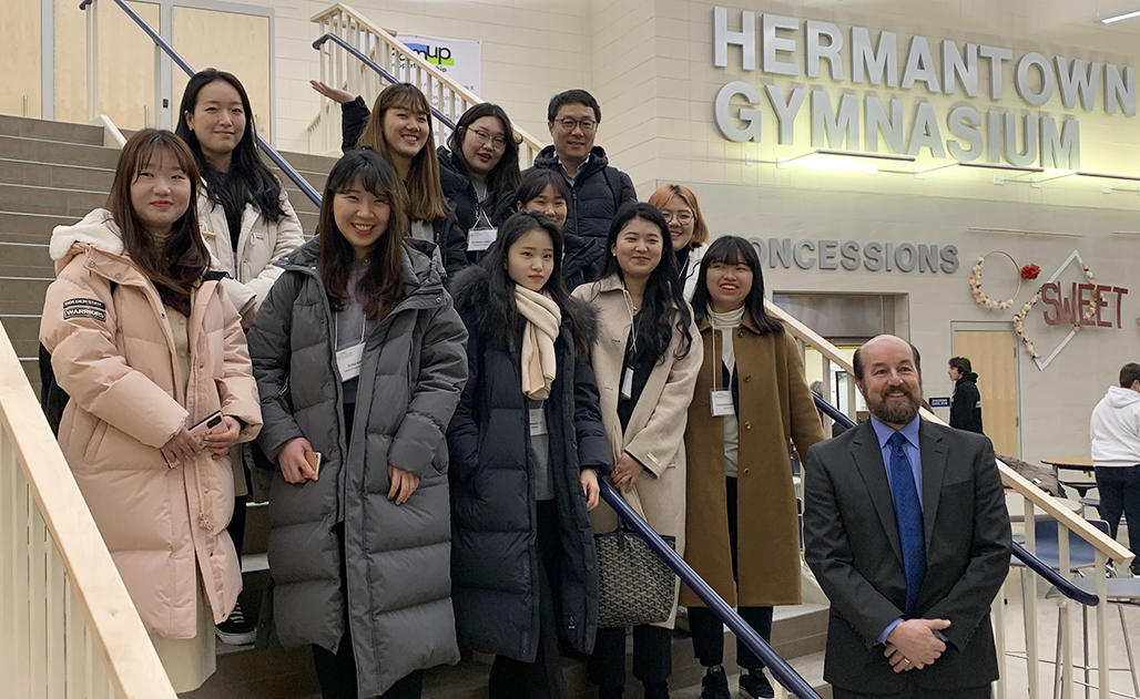 Ewha group at Hermantown Community Schools with Superintendent Kerry Juntunen