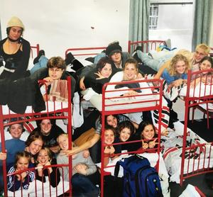 Students in bunk beds.