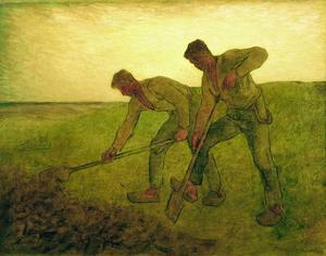 """Painting, """"The Diggers,"""" Jean-Francois Millet."""