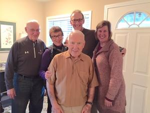 Reconnecting with Duluth Friends: (l-r) Tom Duff, Pat Merrier, Pat's husband Don Harris, William Ellis, and Sherri Lekang.
