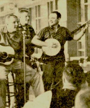 """Jerry on his banjo at a """"Hootenanny."""""""