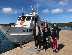 Four participants in the Voyage of Discovery program: Nedda Ramona Raine, Amelie Raine, Annelise Hecker and (front) Madison Sundvick.
