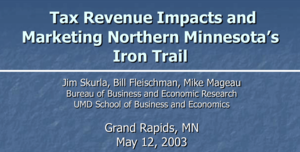 Tax Revenue Impact study, 2003, by BBER Director Jim Skurla and others.