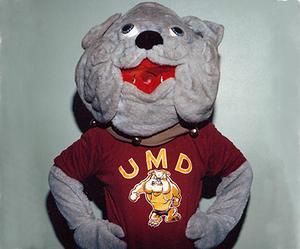 UMD mascot Champ the bulldog circa 1980.