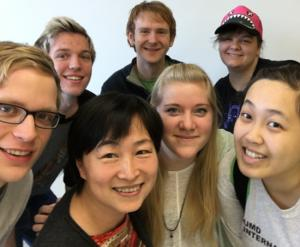 "Saying ""selfie"" in Chinese! Front (l-r): Calvin Miner, Professor Weiqing Zhang, Elizabeth Frandle, Mai Che Lee. Back row: Ryan Jarvis, James Segee-Wright, and Stephanie Zanmiller."