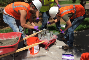 UMD Civil Engineering students are testing four new eco-friendly concrete formulas on the UMD campus.