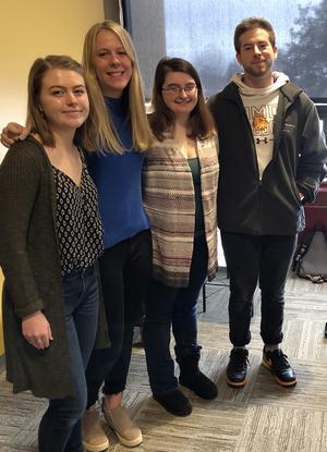 Kelly Gilomen, Kendra Kvebak, Trevor Peterson, and Paige Wagner