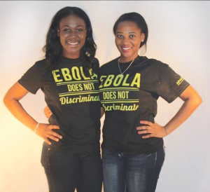 "During the Ebola crisis Kau and Alberta Yaa Nkrumah challenged the UMD campus to raise money for Doctor's Without Borders. They sold ""Ebola Does Not Discriminate"" t-shirts as part of their effort."