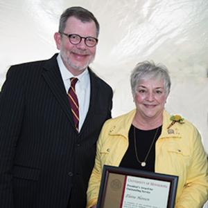 Elaine Hanson was presented the 2016 President's Award for Outstanding Service by UM President Eric Kaler.