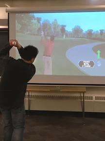 Ed Downs demonstrates a motioned-controlled golf game.