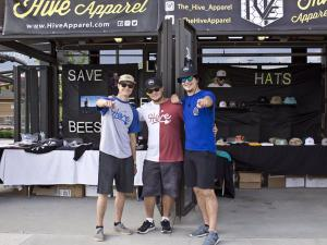 Part of the Hive Apparel crew (Kevin Yantes, Cole Ehresmann, and Jake Wilmert) at the Soundset festival in May 2016. Photo from Hive Apparel Facebook page.