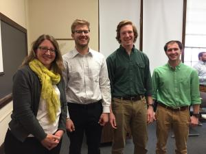 Jennifer Olson from TetraTech with students Erik Bye, Matt Bomback, and Gage Sachs,