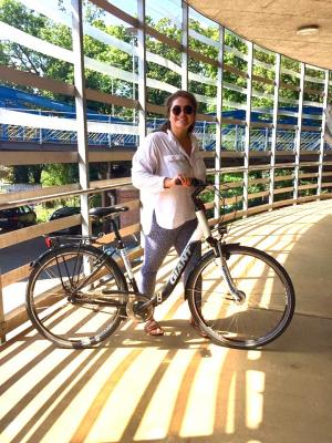 Madelaine Sinclair explores sustainable transportation methods in Germany... she and the students on the trip rode bikes.