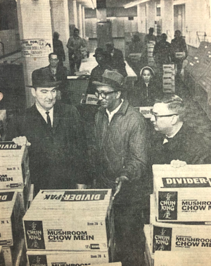 Maupins looks over a truckload of supplies from Duluth to support the civil rights movement in Mississippi.