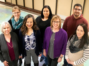 MPS Director Mitra Emad (center) with graduate students (l-r) Pam Merzwski, Ginger Thompson, Kristi Dalbec, Lisa Norr, Shahriyar Roshan Zamir, and Alyssa Dindorf.