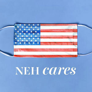 NEH Cares logo American flag mask