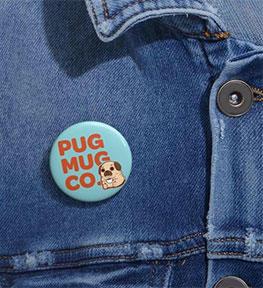 Pug Mug pin on a demin shirt