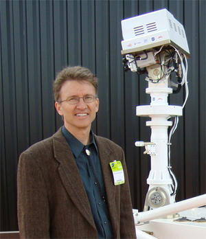 Roger Wiens with the Chem Cam, equipment that helps analyze the Mars formation