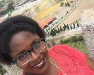 Ebony Hearst on the ramparts of Castillo de Cuellar.