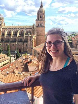 Anna at the top of the Cathedral in Salamanca's bell tower.