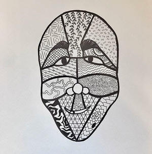 UMD student's mask drawing in black & white