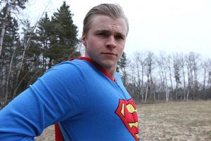 UMD student Nick Vittorio as Superman in his short stop motion film, Superman. Photo by Joellyn Rock.