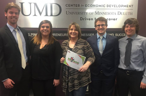 Big Frog Custom T-shirts & More of Duluth business owner Keli Casey (center) participated in the Marketing Student to Business Initiative.
