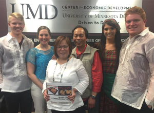 Beth's Famous Egg Rolls and Empanadas also participated in the Marketing SBI. This group of students wore Filipino clothing for their presentation.