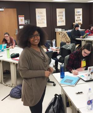 Terresa in her graphic design classroom.