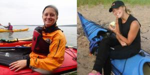 Emily Sebranek and Ryley Oliver kayaked in the Apostle Islands in separate groups.