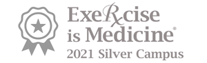 """The words """"Excercise is Medicine  2021 Silver Campus"""""""