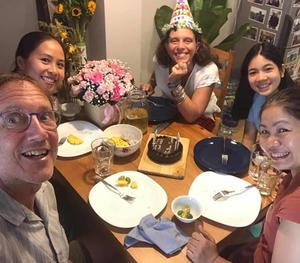 A birthday party with Lan Zoukactera, a Fulbright scholar, Heather-Marie, Dang Thuy An and Đoàn Khuyên.