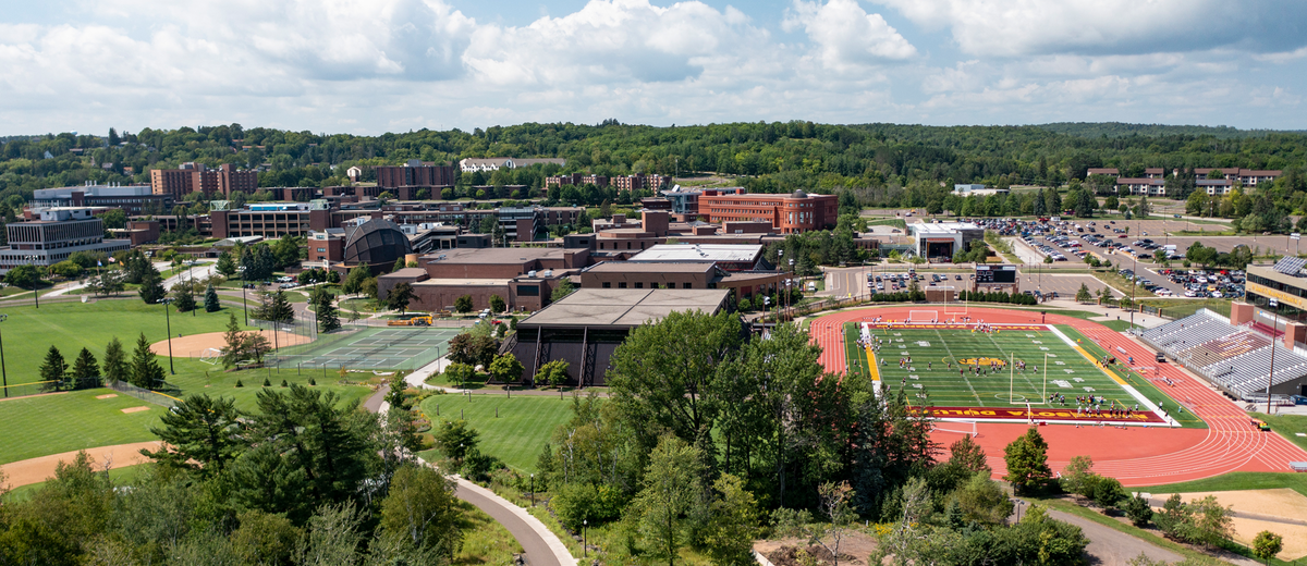 A drone shot of the UMD campus.