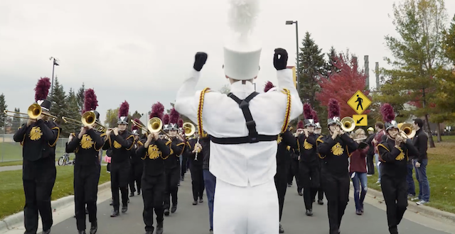 The UMD marching band at homecoming