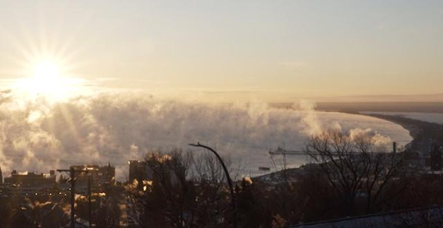 Sea smoke rises over Lake Superior