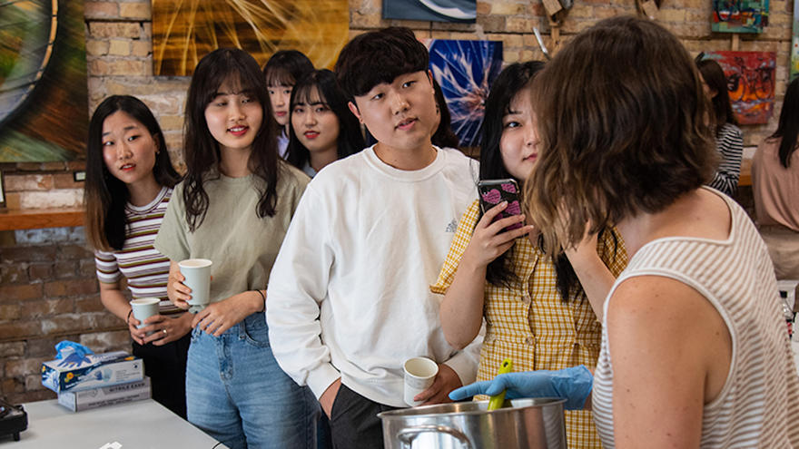 Korean students learned to make soap with natural ingredients.