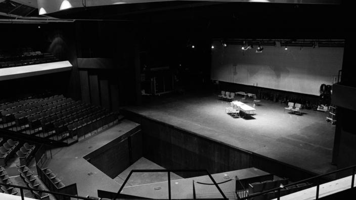 Black And White Photograph Of An Empty Marshall Performing Arts Center