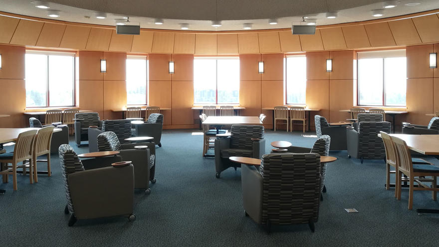 Comfy chairs in UMD's Kathryn A. Martin Library