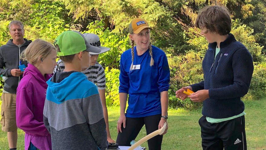 UMD graduate student Tricia Bartels with campers on the Voyage of Discovery program