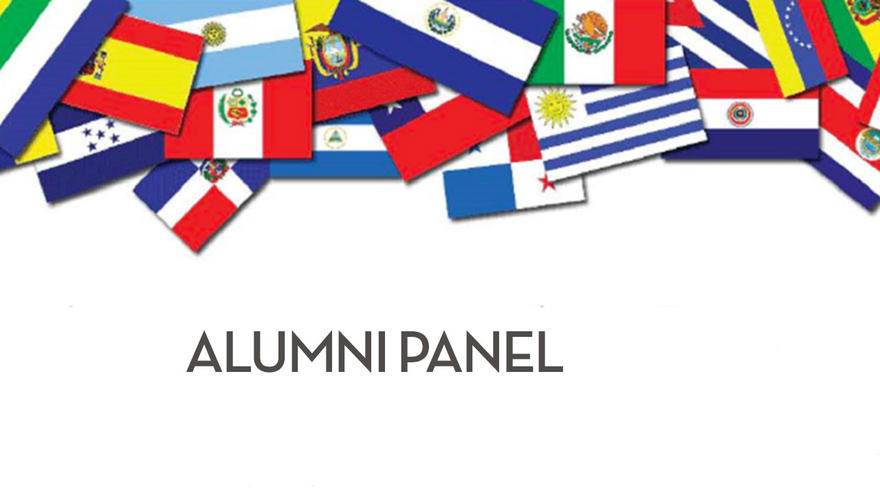 Flags from around the world and the words Alumni Panel