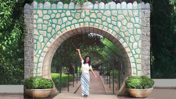 Kau Guannu in a botanical garden in India.