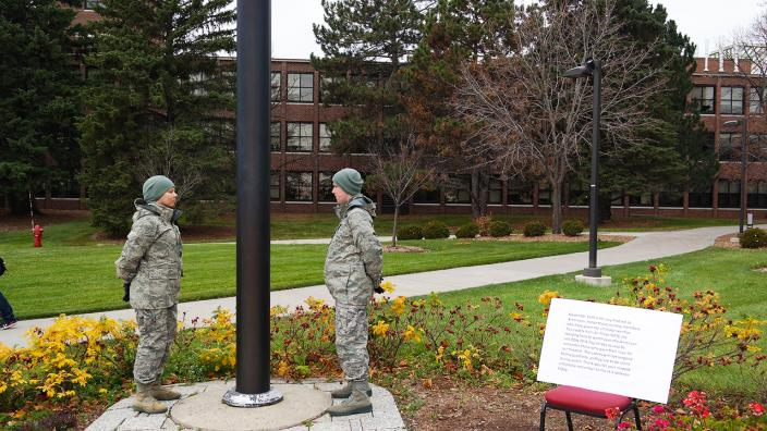 UMD's AROTC cadets posting watch during Veterans Day, 2015