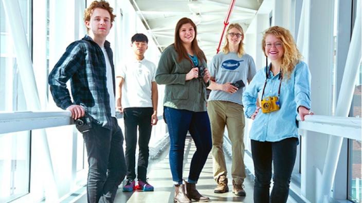 Students Christopher Wodicka, Weijia Chen, Kara Pearson, David Rostvold, and Elizabeth Huninghake.