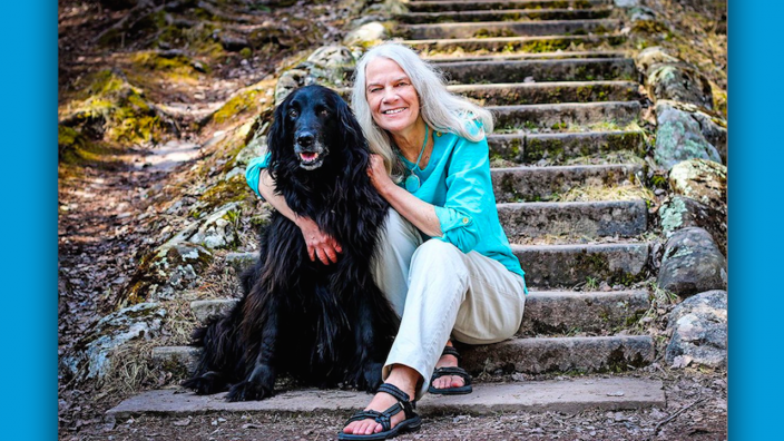 Elizabeth Bartlett and her dog.
