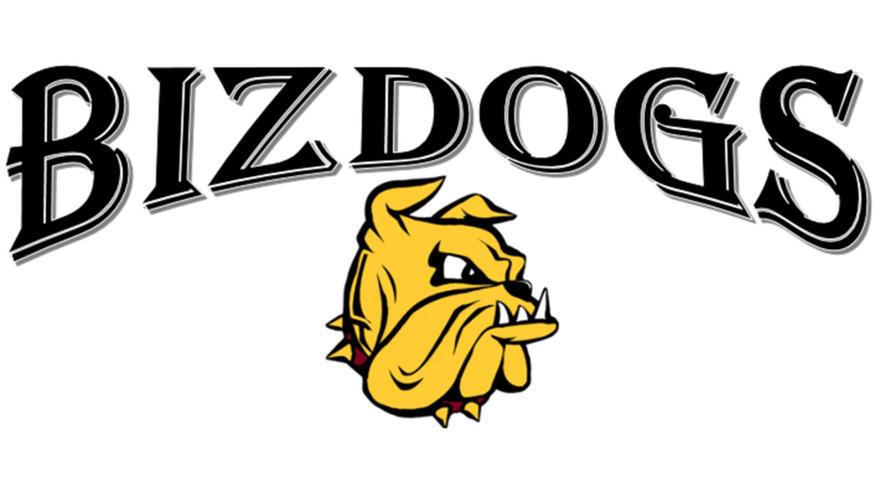 UMD BizDog Living Learning Community logo - Name with Champ head