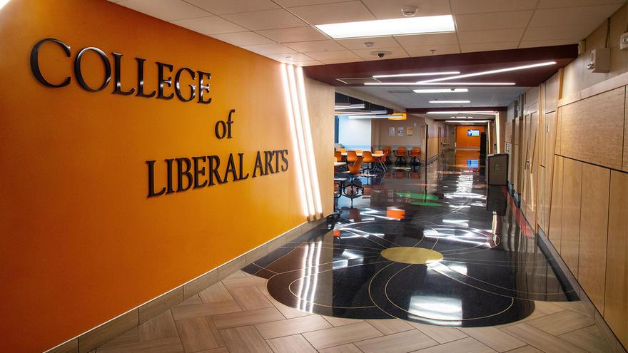UMD College Liberal Arts sign and hallway