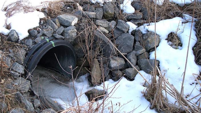 A culvert in winter