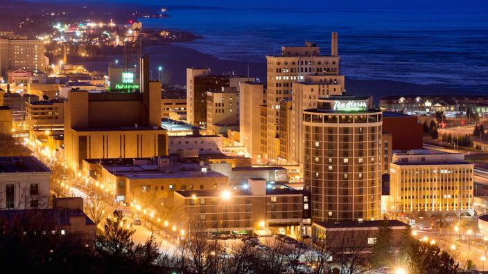 Night scene of the City of Duluth
