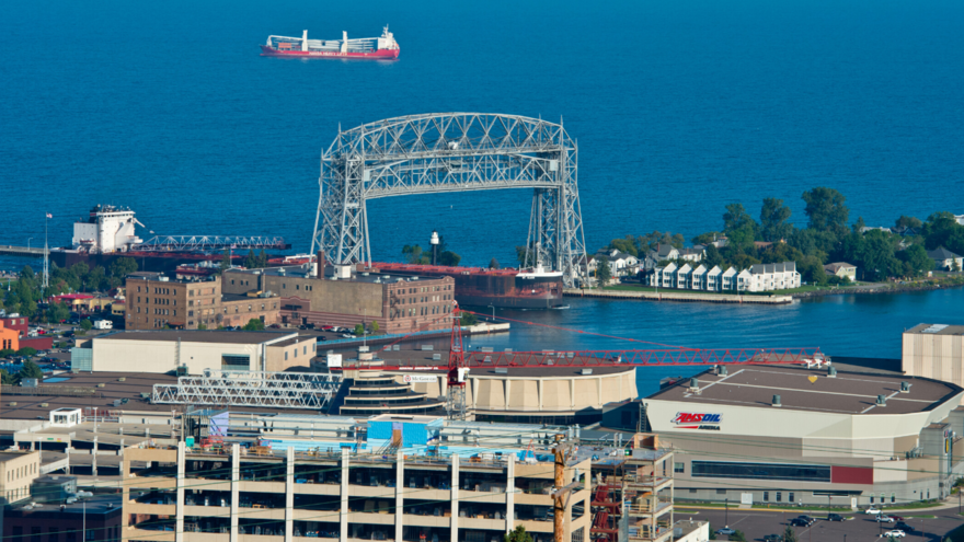 Photo overlooking the Duluth harbor with the Lift Bridge and ship