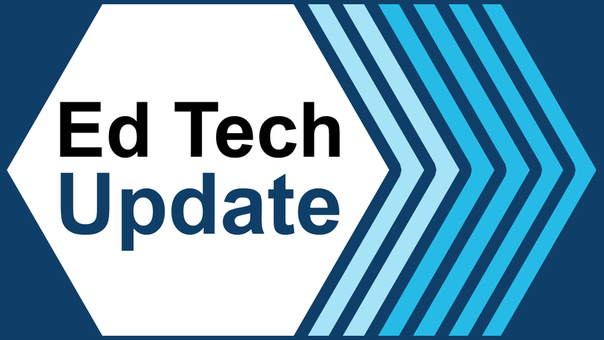 Blue striped background with the words Ed Tech Updates inside a white pentagon shape